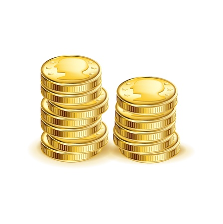 stack of coins isolated on white background Stock Vector - 20227205