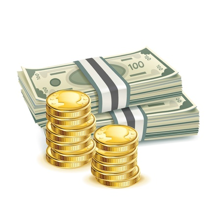 money bills and stack of coins isolated Illustration