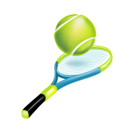 tennis racket with ball isolated on white Illustration