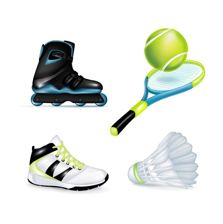 inline skate, sport shoe and tennis racket with ball and shuttle