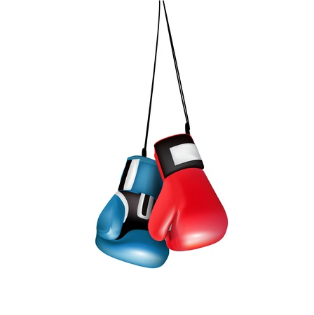 combative: boxing gloves hanging isolated on white