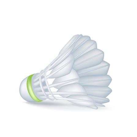 shuttlecock: single tennis shuttle isolated on white Illustration