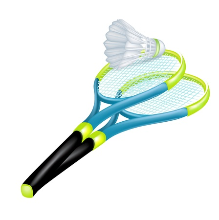 tennis rackets and shuttle isolated on white Vector