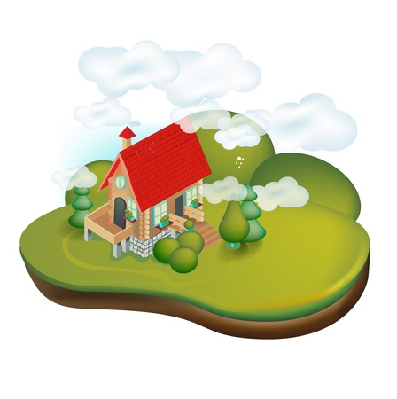 country house in rural landscape isolated