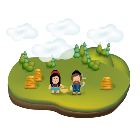 countryside landscape icon with young farmers isolated on white Stock Vector - 20464035