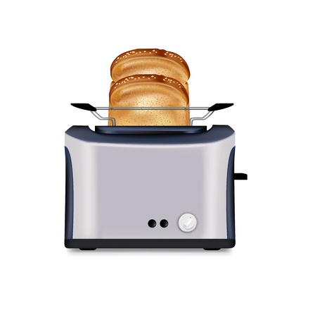 ready cooked: toaster and two slices of bread isolated on white Illustration