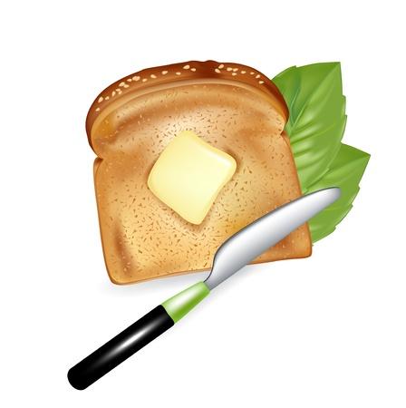 pan con mantequilla: rebanada de pan con mantequilla y cuchillo aislados