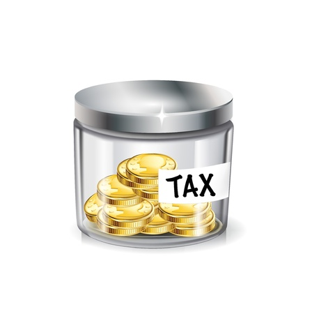 tax tips: jar of money; tax concept isolated on white Illustration