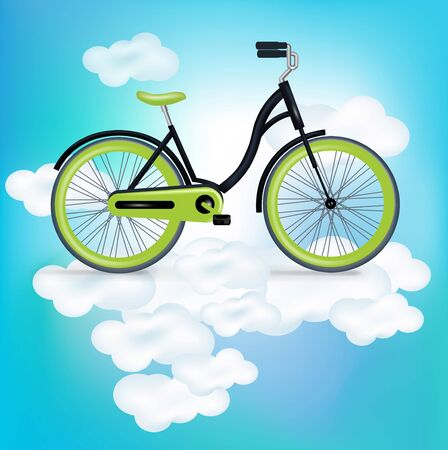 bycicle: bycicle riding on clouds illustration
