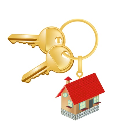 oncept: key chain with house; residence oncept isolated on white