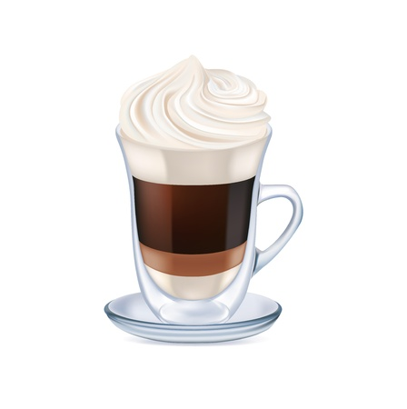milk coffee with whipped cream isolated on white