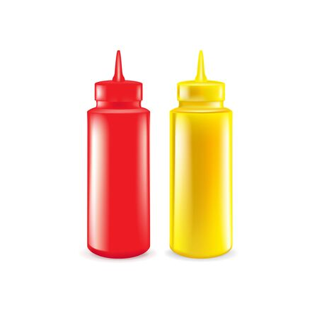 bottles of ketchup and mustard isolated on white Illustration