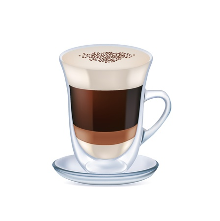 milk coffee with foam isolated on white background