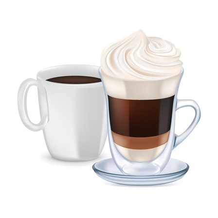 milk coffee with whipped cream and coffee cup isolated Illustration