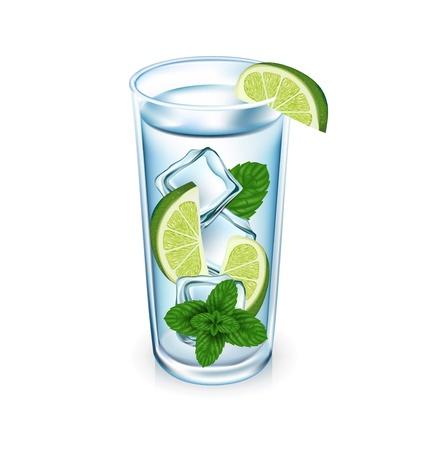 cubos de hielo: lim�n vaso con cubitos de hielo y menta aislados
