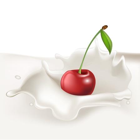 single cherry falling in cream splash