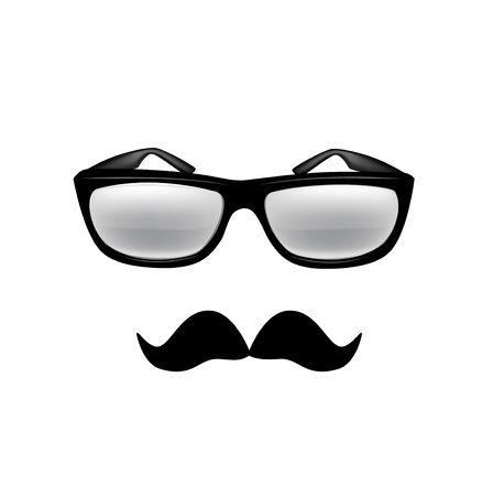 glasses and mustache isolated on white Stock Vector - 21684218