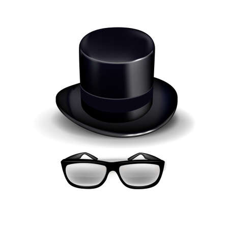requisite: black retro hat with glasses isolated