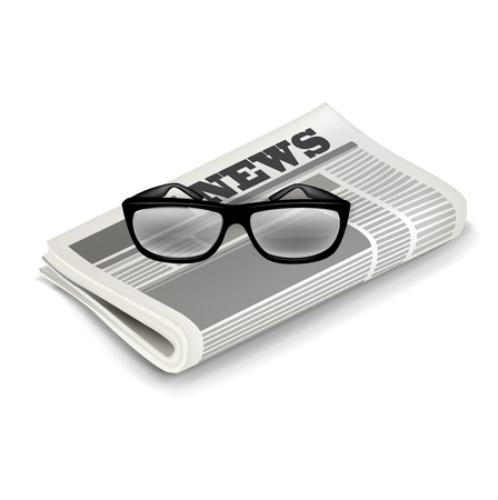 glasses and newspaper isolated on white Stock Vector - 20464100