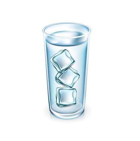 cubos de hielo: vaso de agua con cubos de hielo aislados en blanco