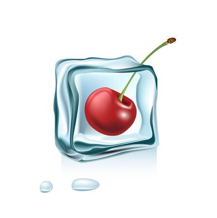 cherry in ice cube isolated on white background