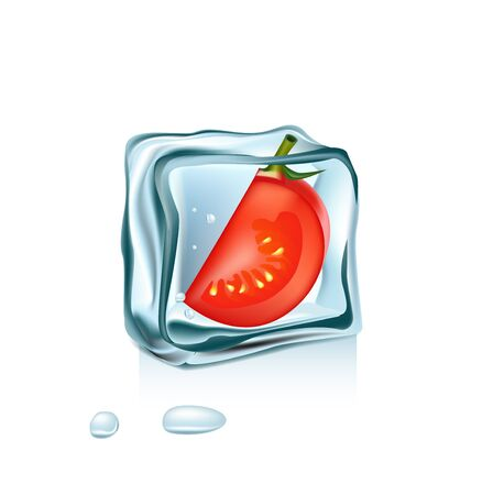 ice cube: tomato in ice cube isolated on white Illustration