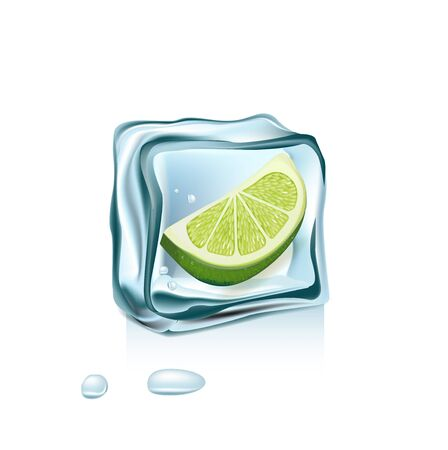 hydrate: lemon in ice cube isolated on white background Illustration