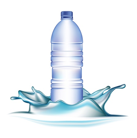soda splash: water bottle and splash isolated on white