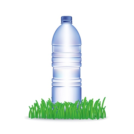 water bottle and grass isolated on white background Stock Vector - 20464001