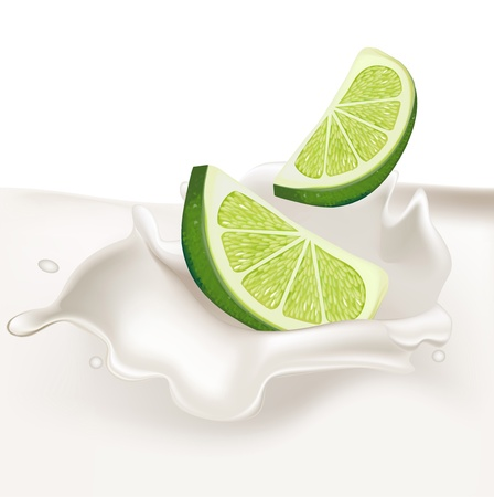 lime slices falling in cream splash isolated Vector