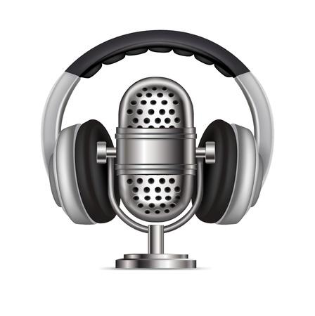 ヘッドフォンと無線マイクの白で隔離  イラスト・ベクター素材
