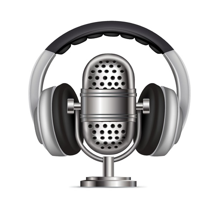 headphones and radio microphone isolated on white Illustration