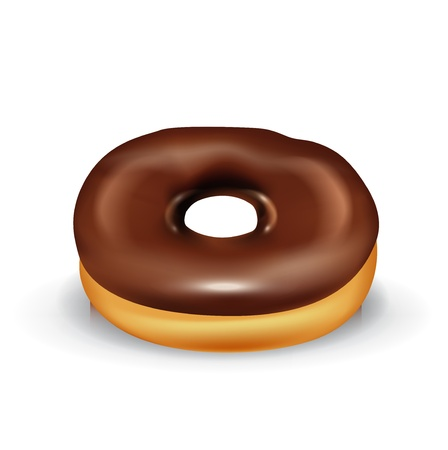 chocolate donut isolated on white Vector