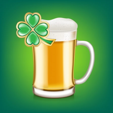 brewed: beer glass cup with four leaf clover isolated