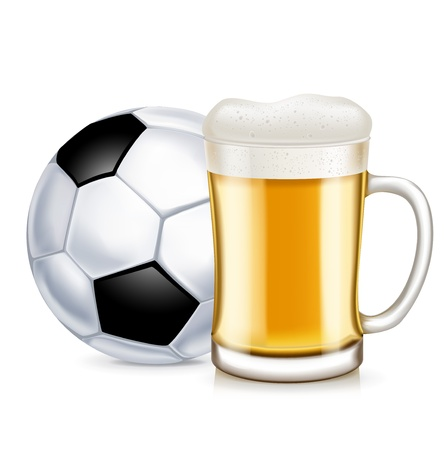 football and beer glass with handle isolated