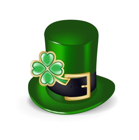 four leafs clover: sombrero verde con el tr�bol s�mbolo aislado Vectores