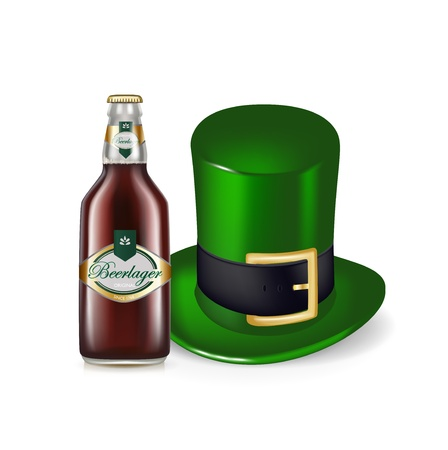 beer bottle and green hat isolated on white