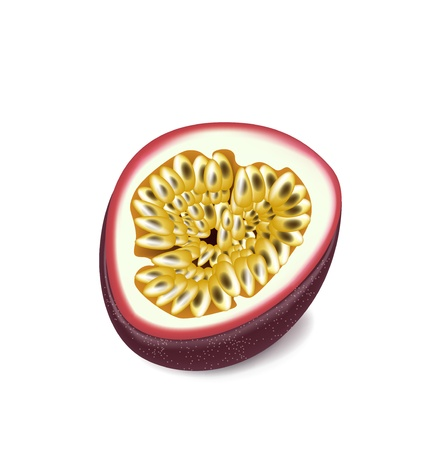 half of passion fruit isolated on white Illustration