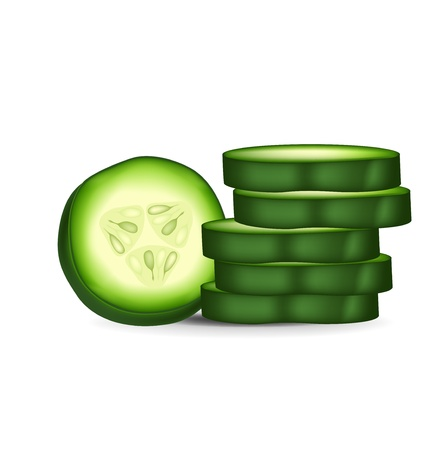 cucumber slice: round cucumber slice and stack of slices isolated