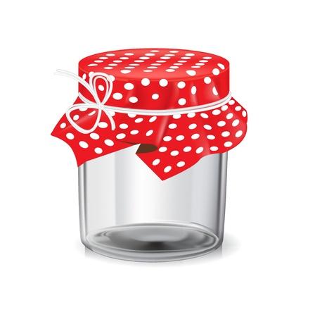 empty glass jar isolated on white background Illustration