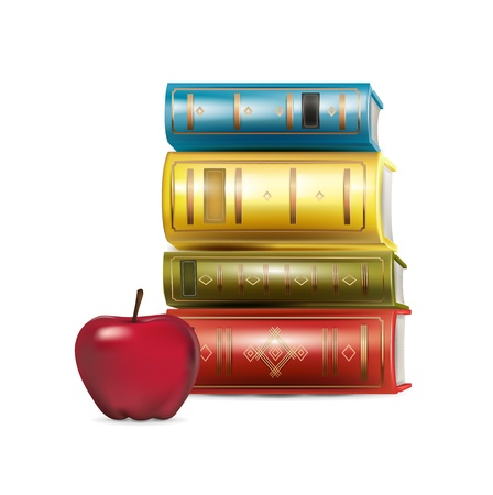 stack of books and apple isolated on white Stock Vector - 21684484