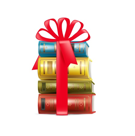 stack of books in gift bow isolated on white Vector