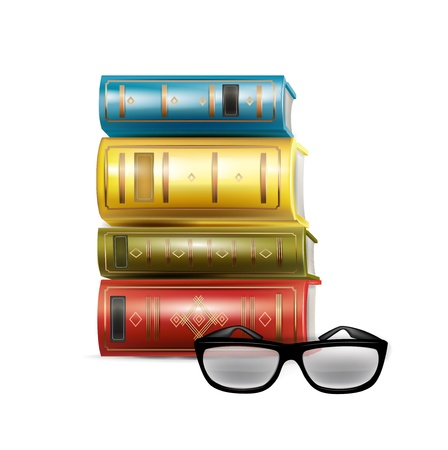 stack of books and reading glasses isolated Stock Vector - 21684579