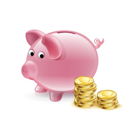 piggy bank with golden coins isolated on white