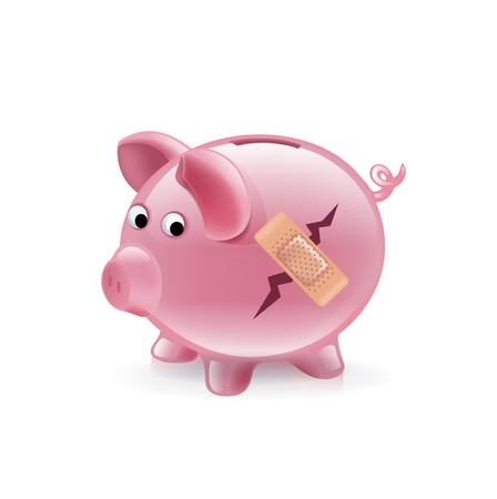 repaired: broken piggy bank with bandage isolated on white
