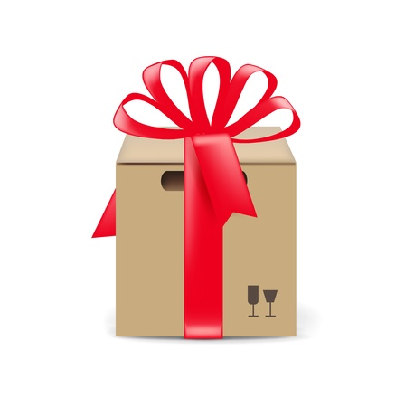 cardboard gift box isolated on white