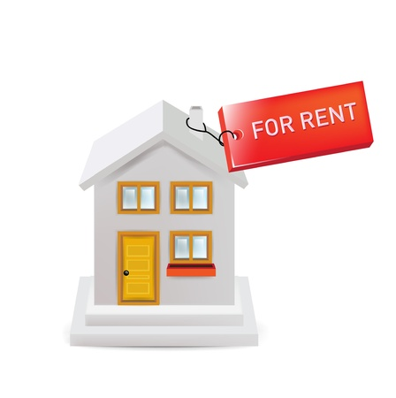 for rent sign: house with for rent sign isolated on white