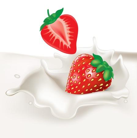 strawberries falling in cream splash on white Vector
