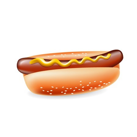 hot dog with mustard isolated on white