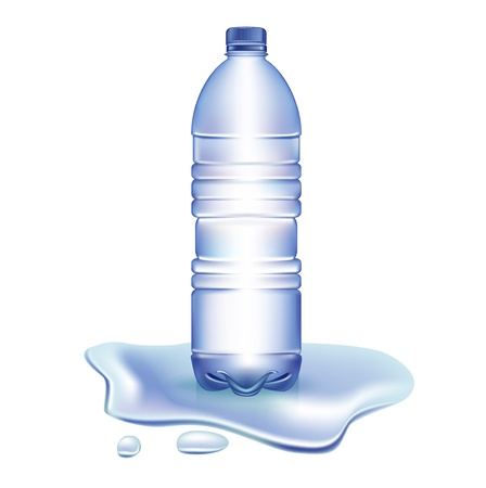 bottle of water in spilled water isolated on white background Stock Vector - 21684613